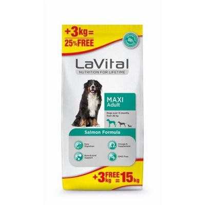 La Vital Maxi Adult Somonlu Köpek Maması 12+3 KG