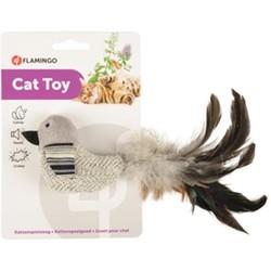 Flamingo - Flamingo Pirin Tüylü Kuş Siyah Beyaz Kedi Oyuncağı